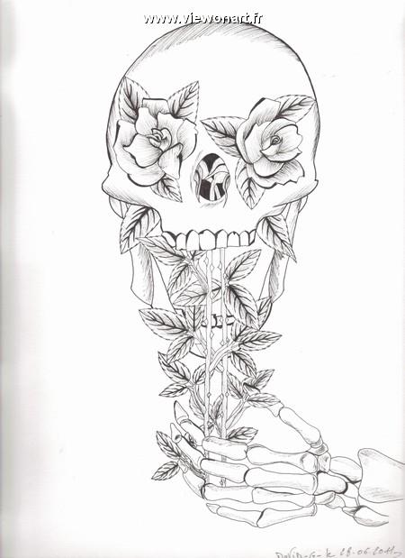 T te de mort creations dessin fleurs - Tete de mort fleur ...