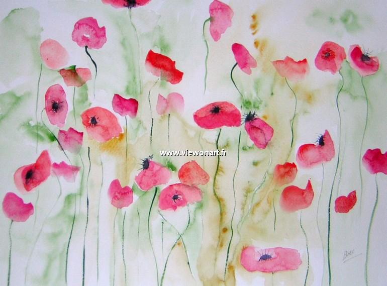 Champs De Coquelicots Creations Peinture Fleurs