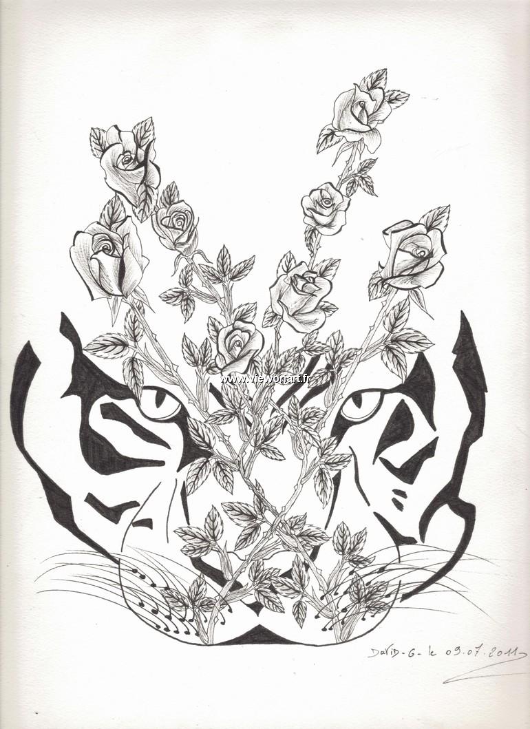 T te de tigre creations dessin fleurs - Dessin de rosier ...